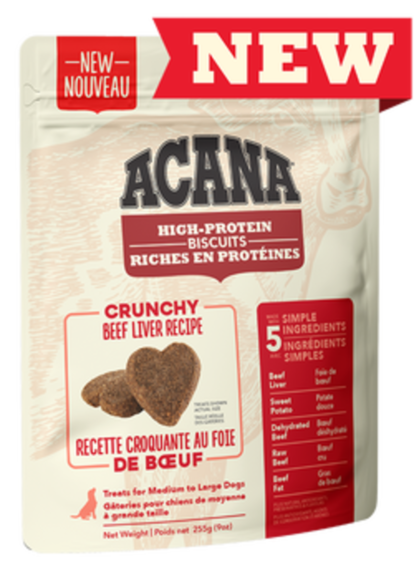 Acana® Acana High-Protein Biscuits, Crunchy Beef Liver Recipe 9oz Large