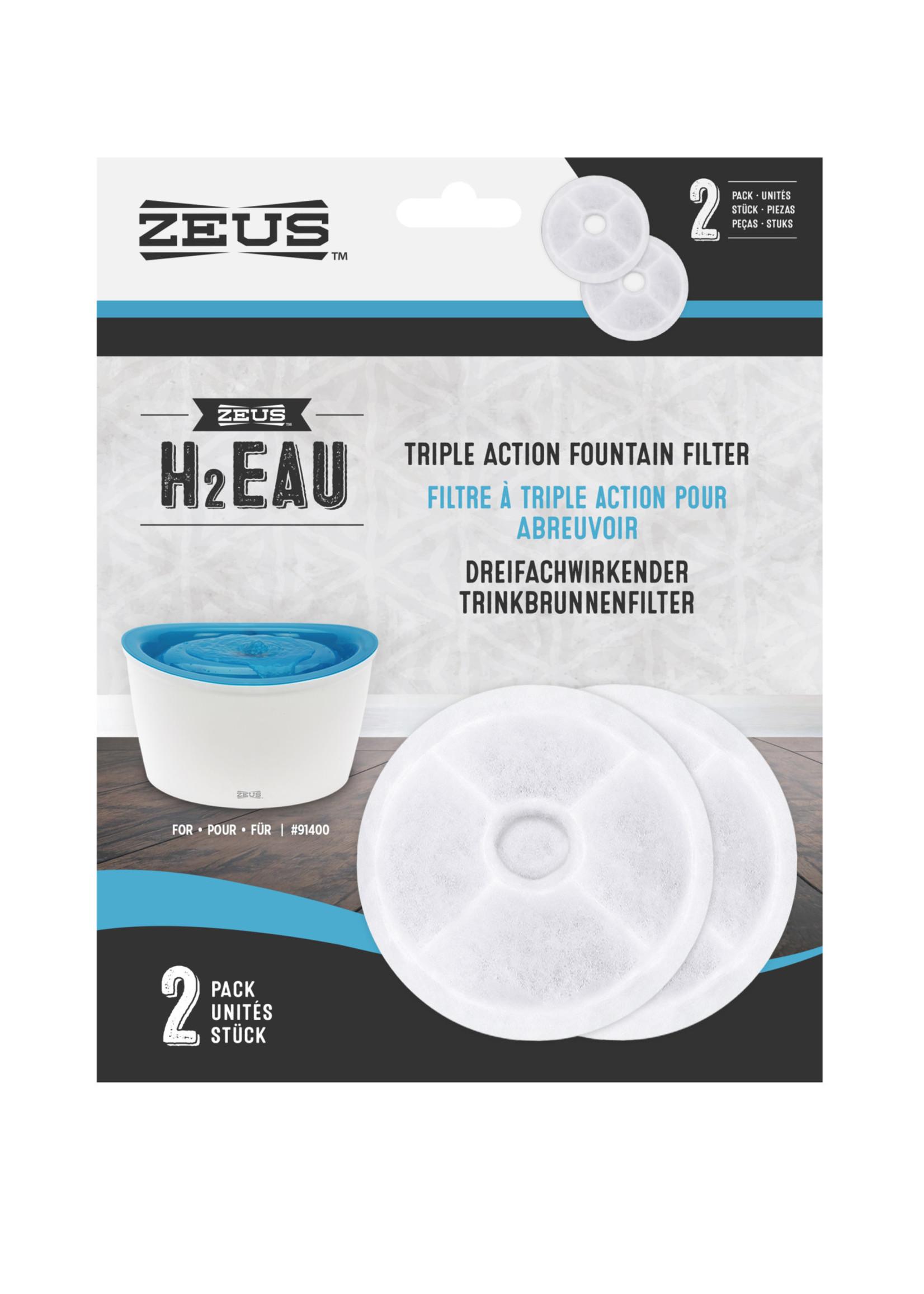 Zeus™ Zeus H2EAU Triple Action Fountain Filters 2pk