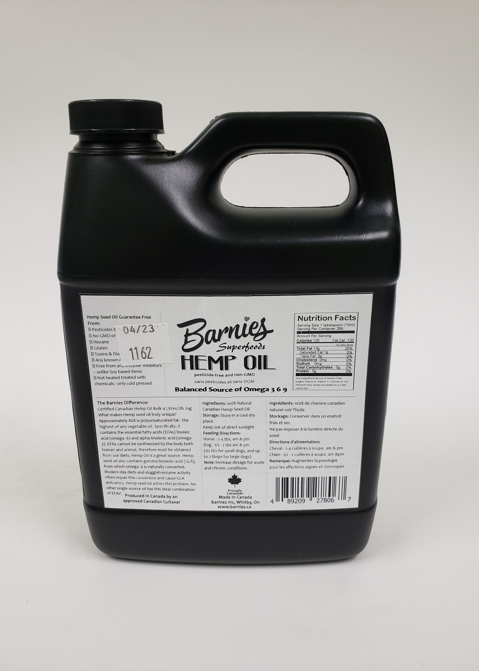 Barnies Barnies Cold Pressed Pure Hemp Oil 1L