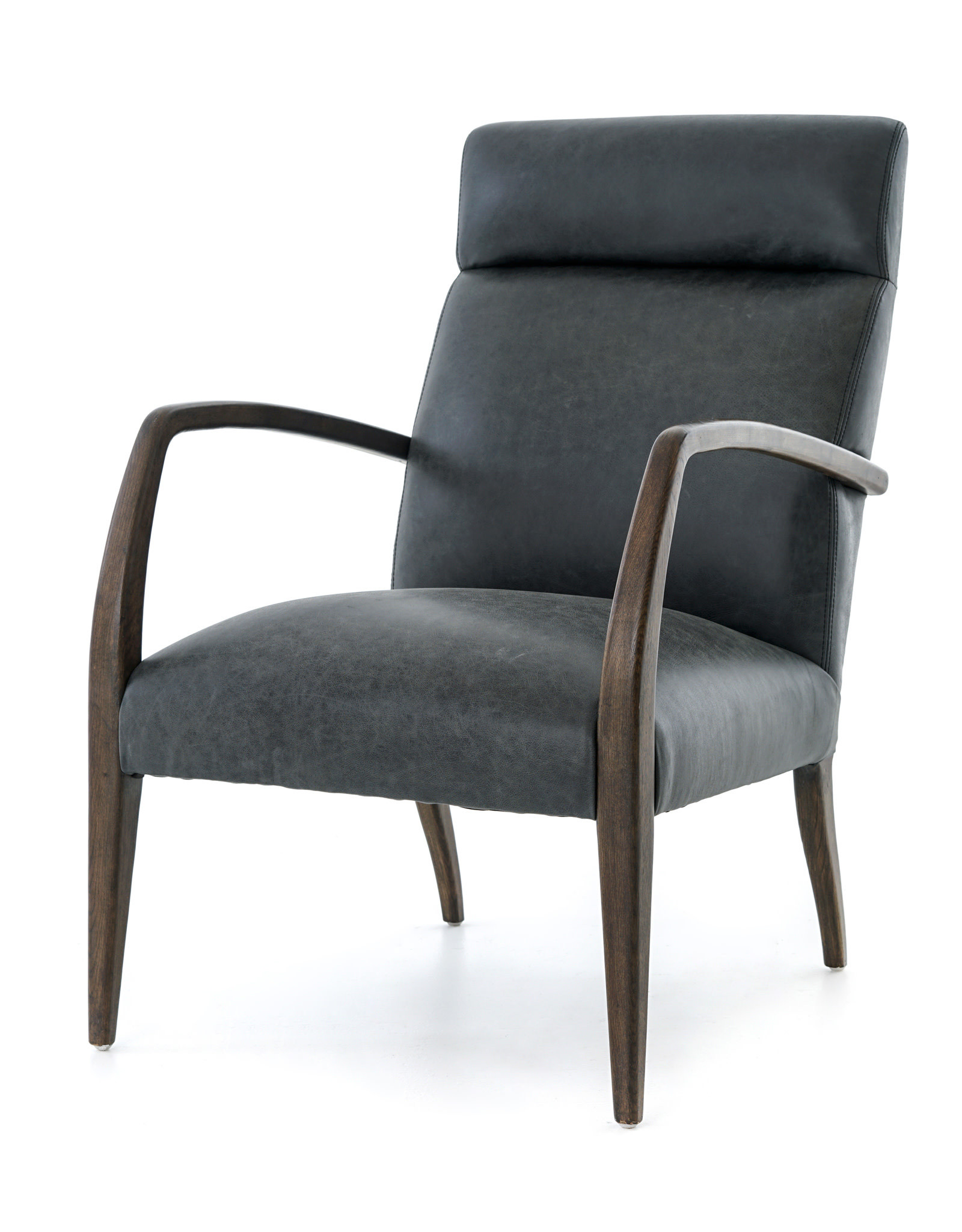 Wood & Leather High Back Chair
