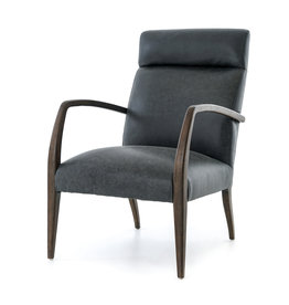 FOUR HANDS Wood & Leather High Back Chair
