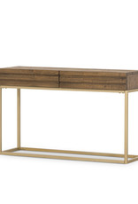 Rustic Reclaimed Wood Console with Brass Finish Base