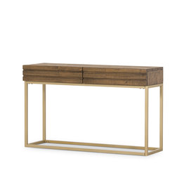 FOUR HANDS Rustic Reclaimed Wood Console with Brass Finish Base