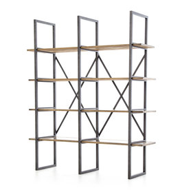 Wood & Metal Bookshelf with Copper Shelf Accent