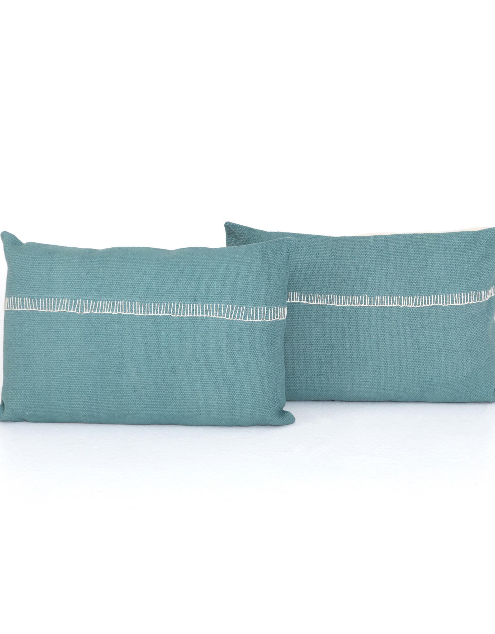 "Pillows Aqua with Stitch Accent 16"" x 24"""