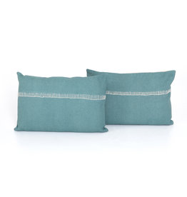 "Pillow Aqua with Stitch Accent 16"" x 24"""