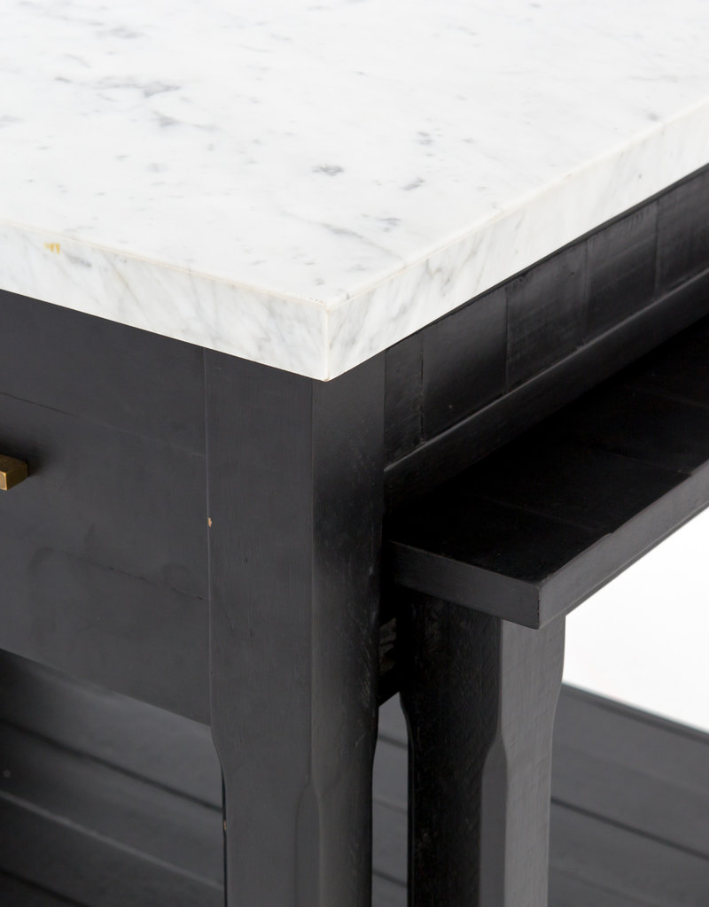 FOUR HANDS Marble Top Kitchen Island With Brass Accents