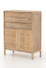 FOUR HANDS Washed Finish Wood & Woven Cane Dresser
