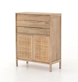 Washed Finish Wood & Woven Cane Dresser