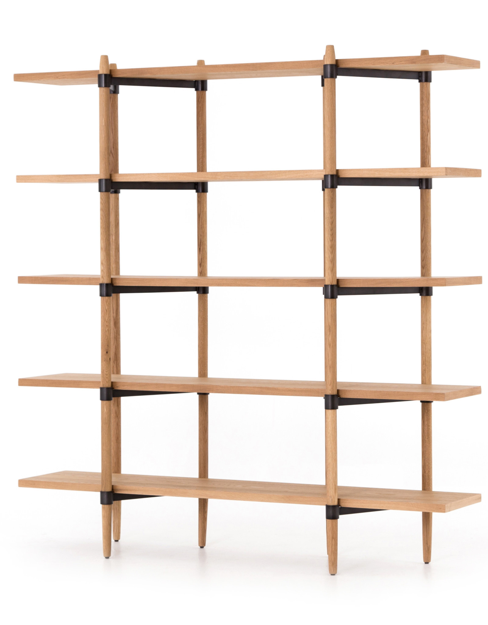 Oak & Metal Open Concept Bookshelf