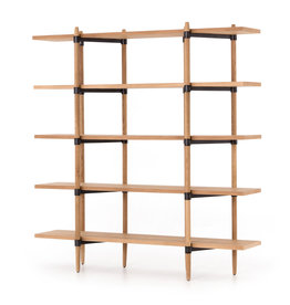 Oak & Metal Open Concept Bookshelf