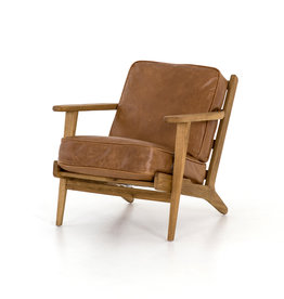 Leather & Wood Lounge Chair