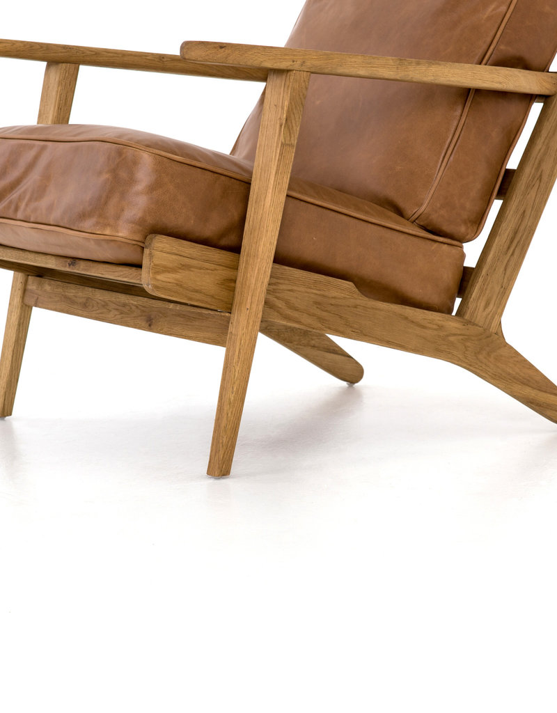 FOUR HANDS Leather & Wood Lounge Chair