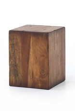 Reclaimed Wood Block End Table
