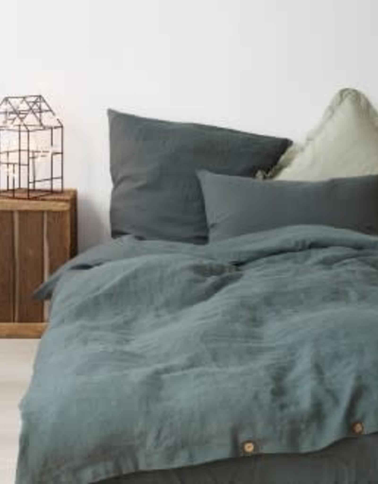 Forest Green King Sized Linen Duvet With 2 Shams