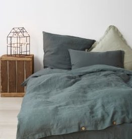 Forest Green King Sized Linen Duvet With 2 Shams