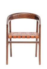 CHAIR WHITE CEDAR WOOD AND WOVEN LEATHER 21 X 22.5 X 30