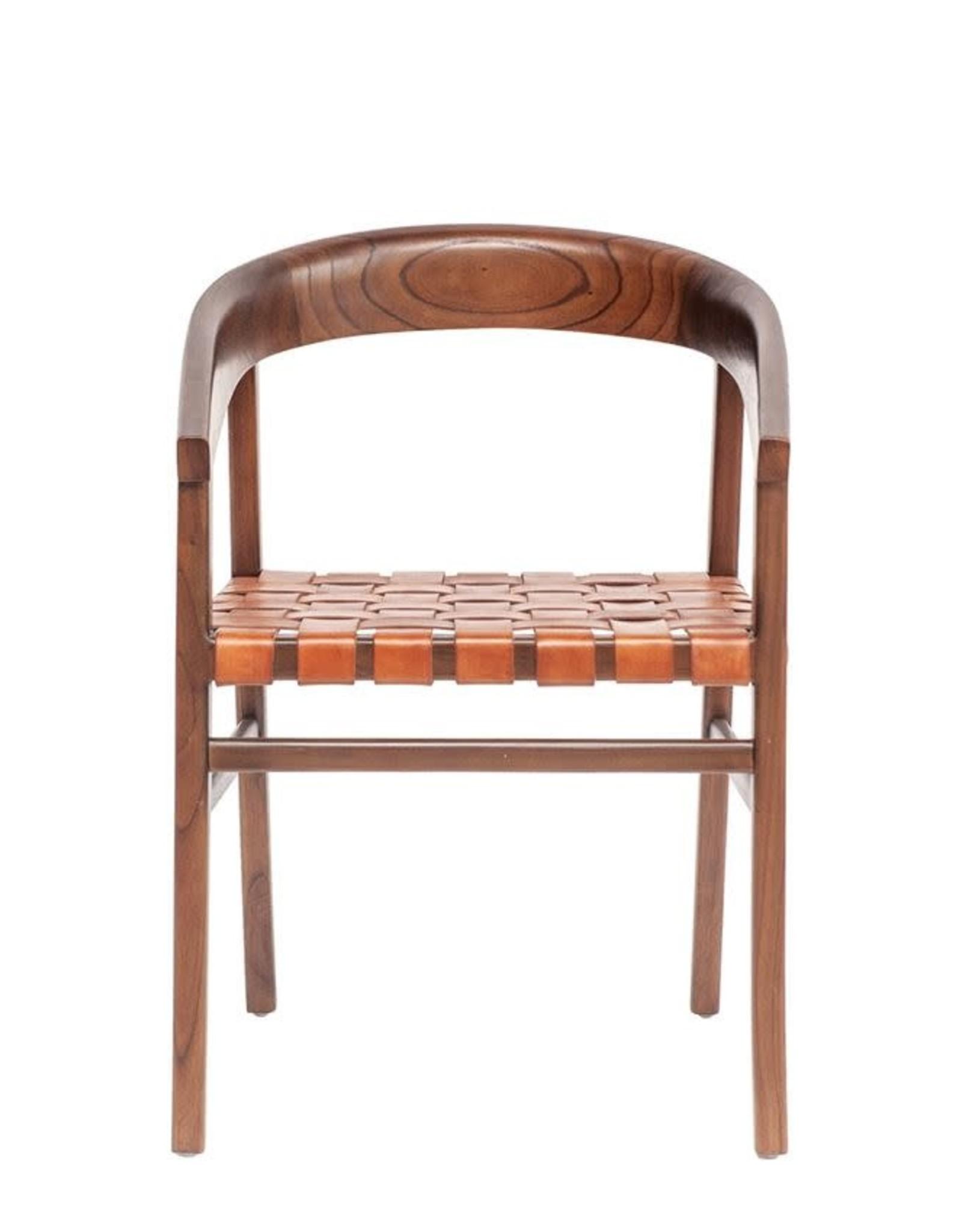 White Cedar & Woven Leather Chair