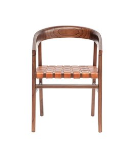 CHAIR WHITE CEDAR WOOD AND WOVEN LEATHER