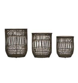 BLOOMINGVILLE Hand Woven Bamboo & Rattan Baskets w/ Lids