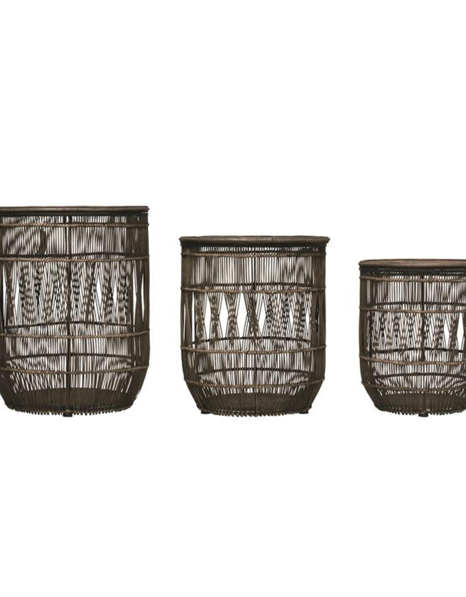 Hand Woven Bamboo & Rattan Baskets w/ Lids