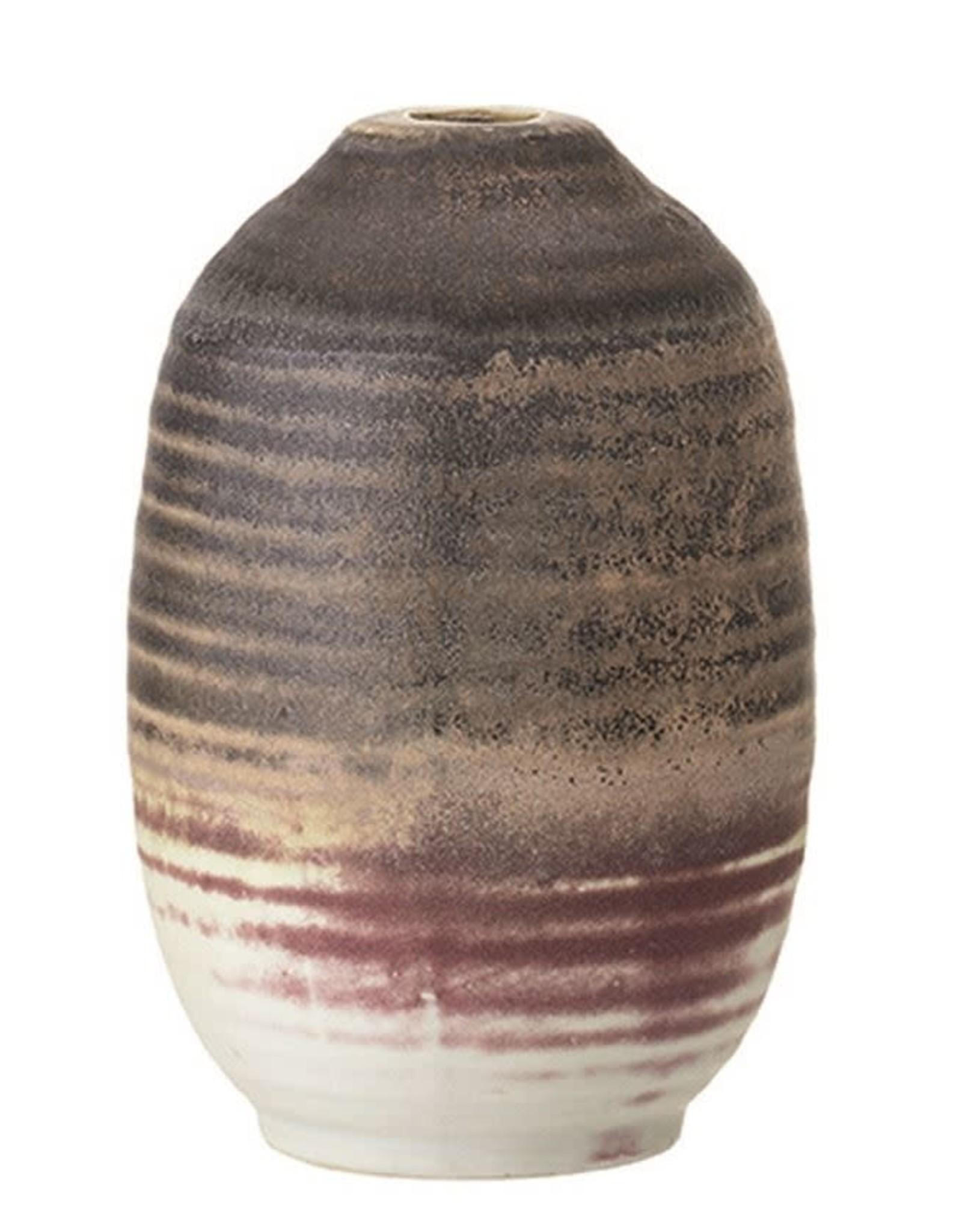 Stoneware Vase, Brown, Plum & Cream Color