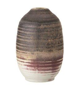 BLOOMINGVILLE Stoneware Vase, Brown, Plum & Cream Color