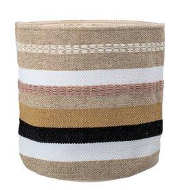 Woven Wool & Cotton Basket w/ Stripes