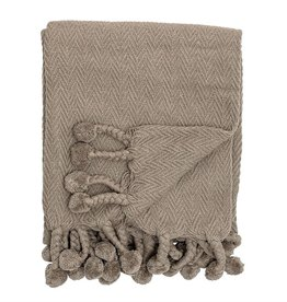 BLOOMINGVILLE Cotton Woven Throw with Pom Poms