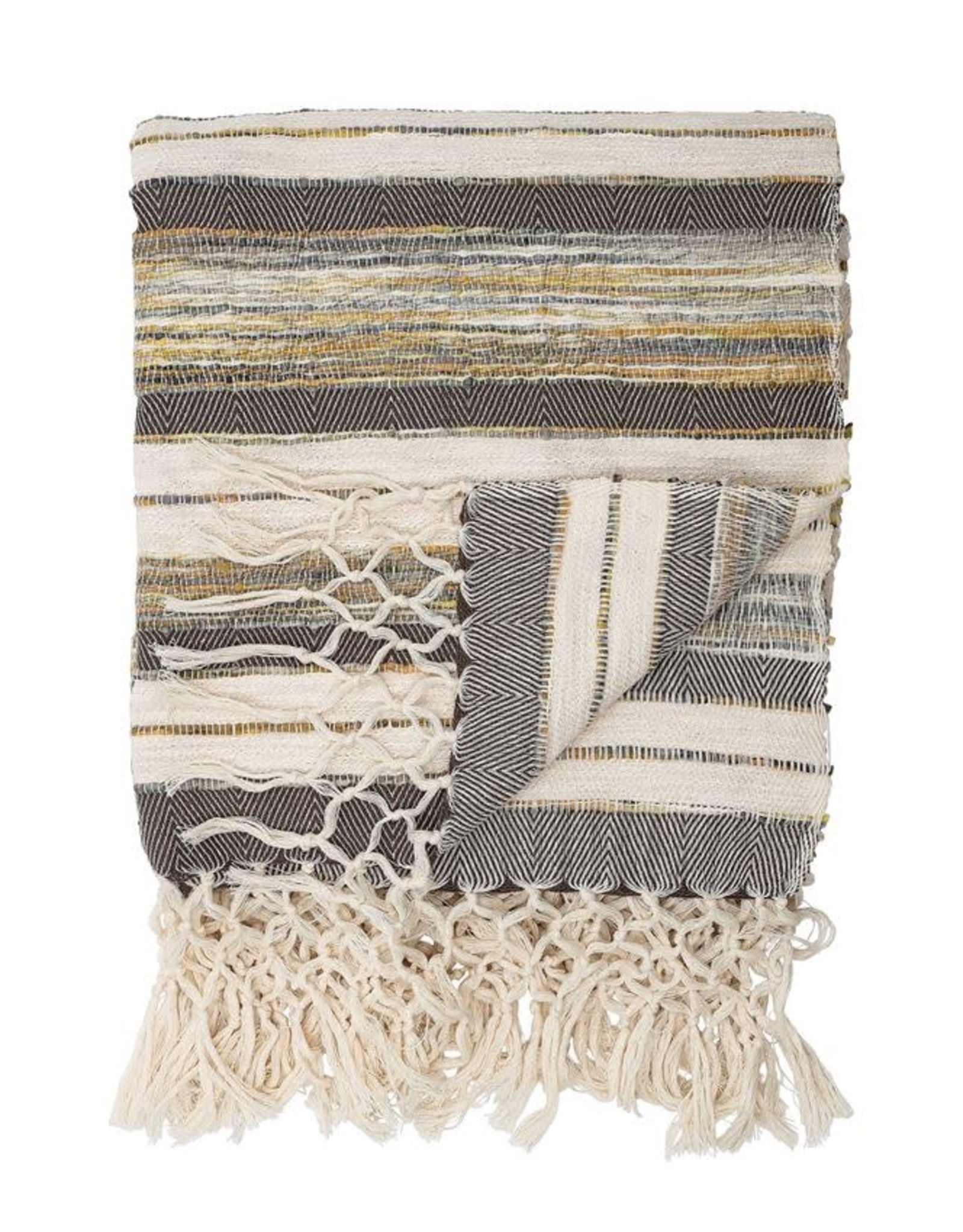 Hand-Woven Cotton Blend Throw with Fringe