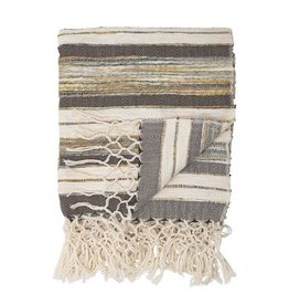 BLOOMINGVILLE Hand-Woven Cotton Blend Throw with Fringe