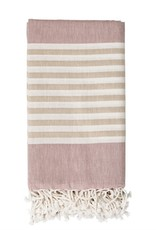 BLANKET THROW 40 X 80 COTTON MAUVE WITH BEIGE STRIPES AND FRINGE