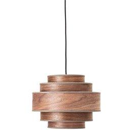Walnut Veneer Pendant Light with Fabric Edging