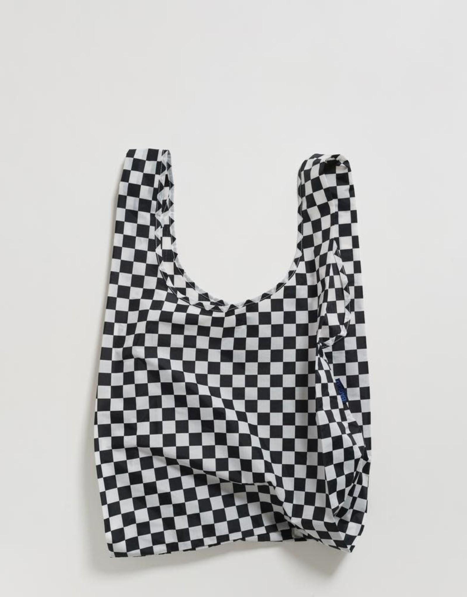 Black Checkerboard Reusable Shopping Bag