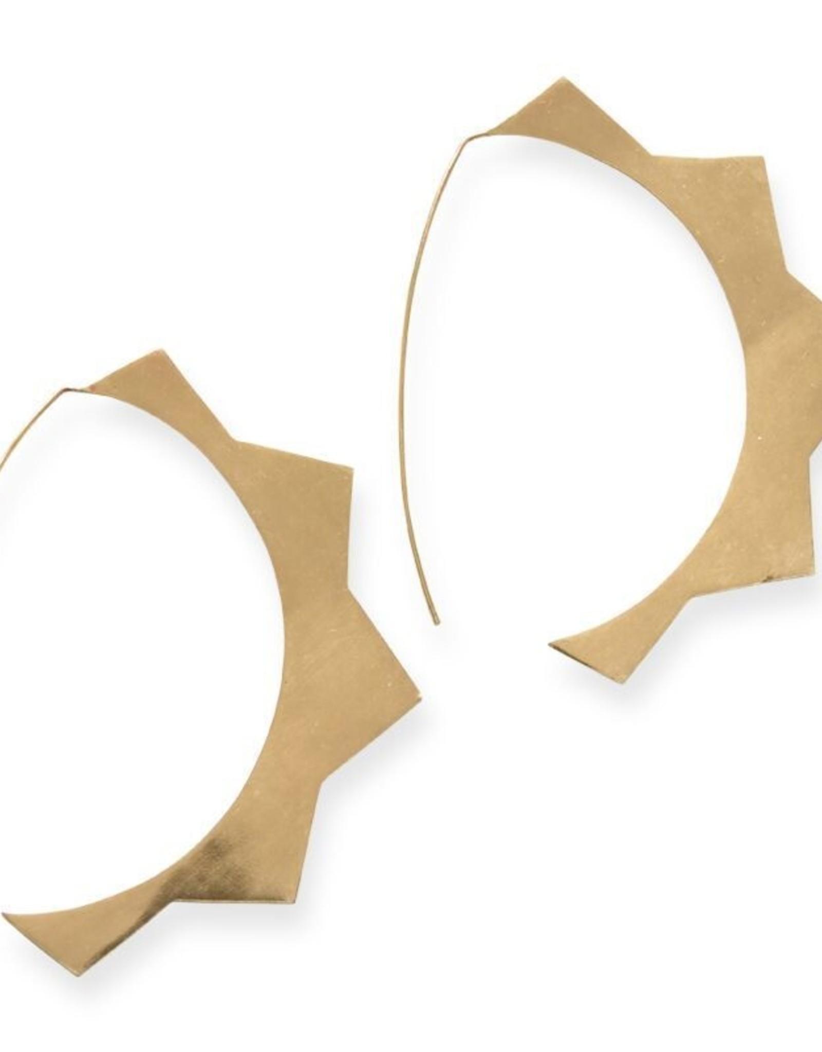Brass Sun Hoop Earring