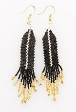 Small Black and White Stripe Earring With Gold Fringe