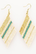 Teal and Gold Striped Diamond Seed Bead Earring