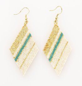 EARRING TEAL GOLD IVORY LUXE DIAMOND