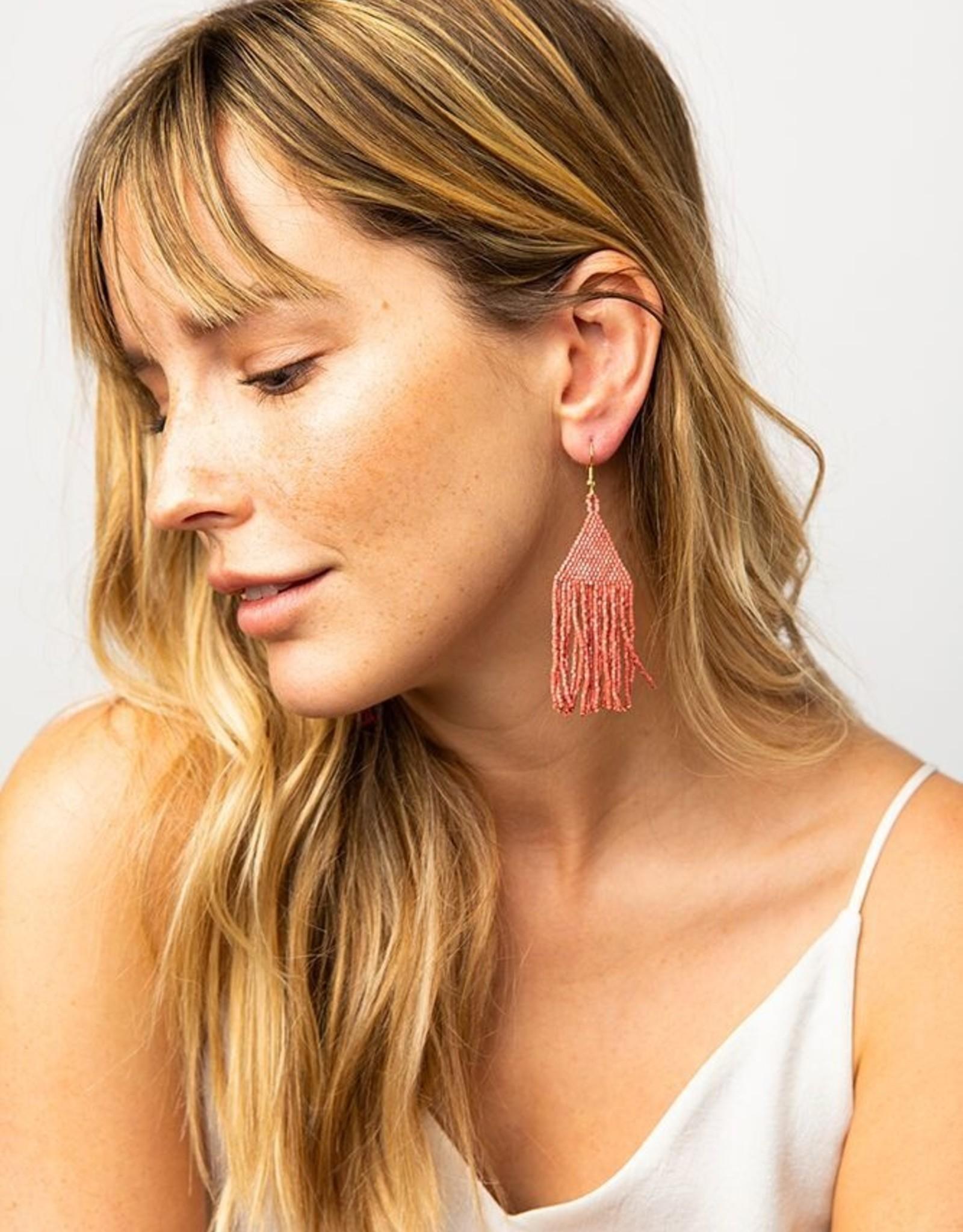 Small Terracotta Fringe Earring