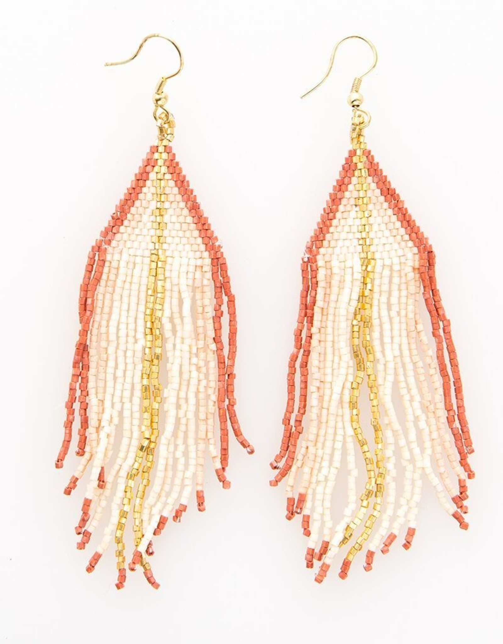 Pink and Gold Stripe Fringe Earring