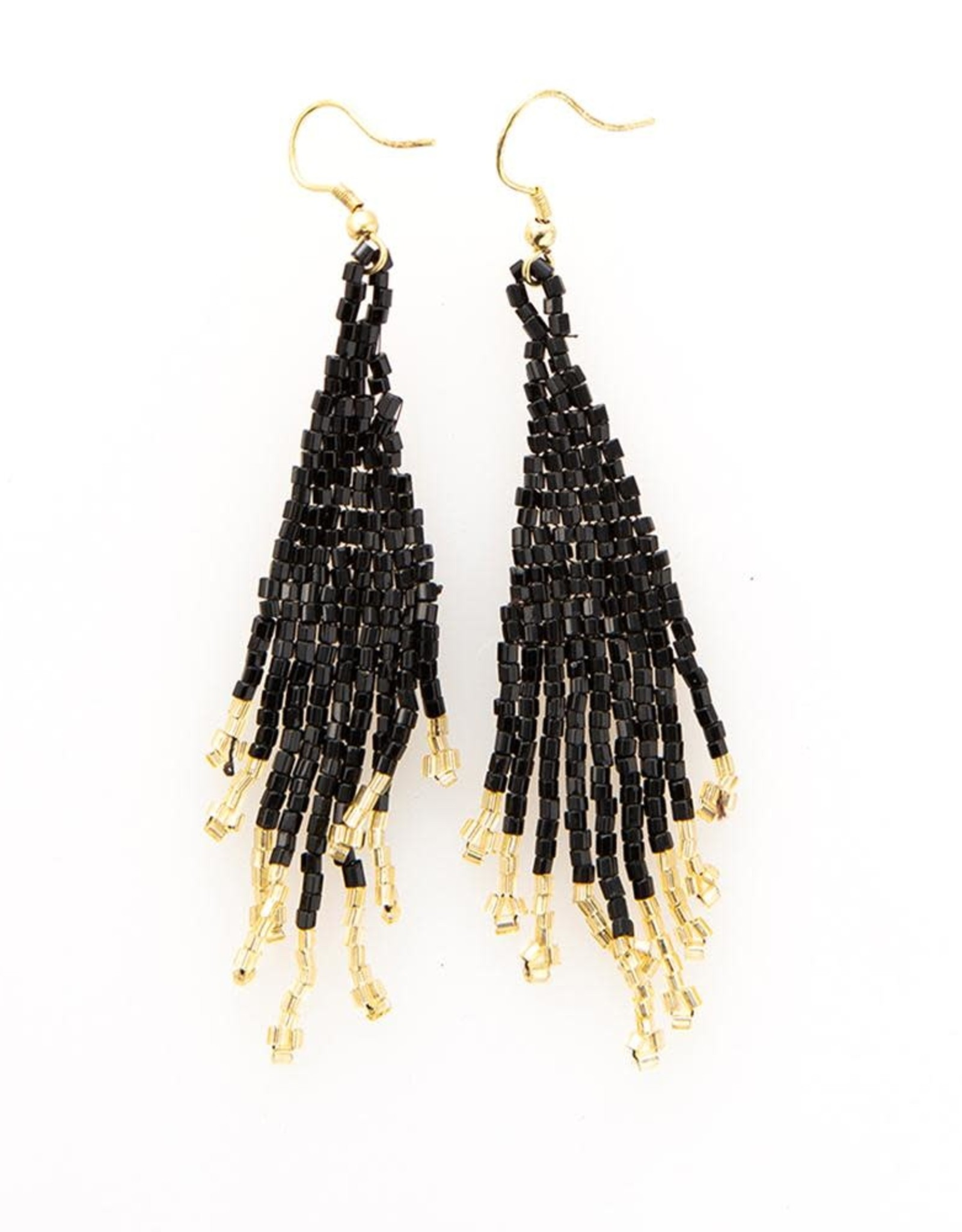 Small Black and Gold Fringe Earring