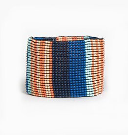 Blue and Coral Stretch Bracelet