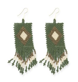 EARRING SEED BEAD DIAMOND 4 INCH EMERALD IVORY GOLD