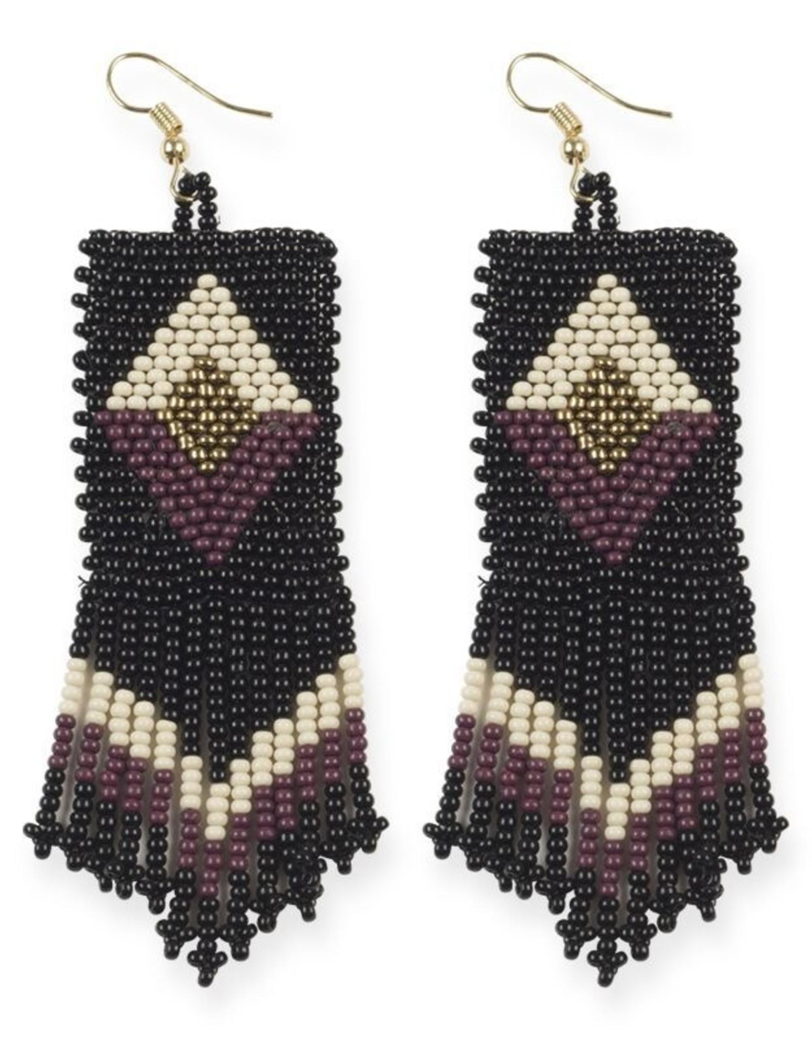 Black and Port Diamond Seed Bead Earring