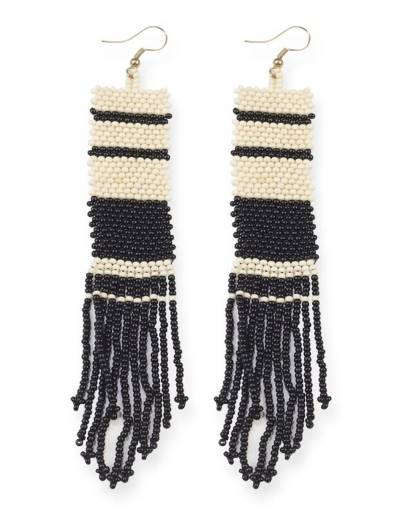Black and Ivory Stripe Long Seed Bead Earring