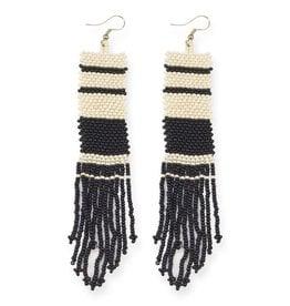 Black and Ivory Stripe Long Seed Bead Earring