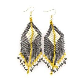 Grey and Citron Diamond Fringe Earring