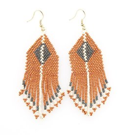 EARRING RUST GREY IVORY DIAMOND WITH STRIPE FRINGE SEED BEAD
