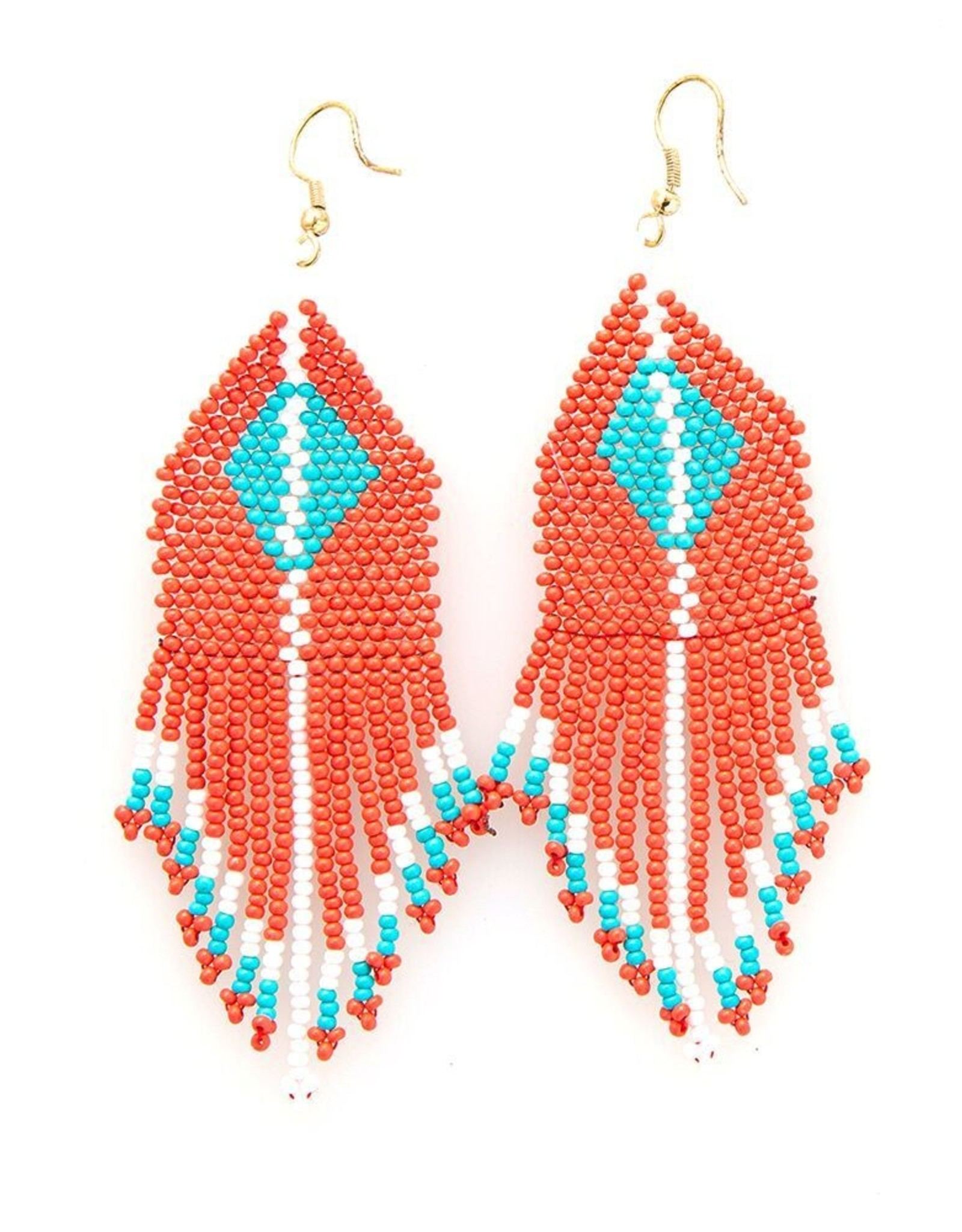 Red and Turquoise Diamond Fringe Earring