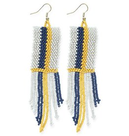 Ivory, Navy, and Yellow Stripe Seed Bead Earring